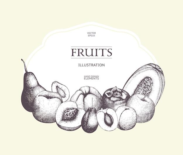 エキゾチックなフルーツのスケッチをインクでヴィンテージのカードデザイン。メニューの健康食品のレトロなフレーム。熱帯植物テンプレート、デトックスプログラム