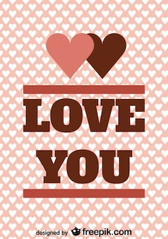 Vintage card design with love you message
