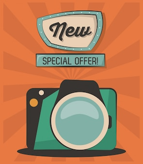 Vintage card new special offer camera photografic