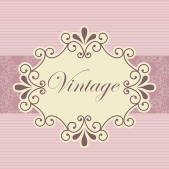 Винтажная открытка на розовом фоне