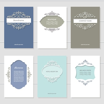 Vintage card templates set.