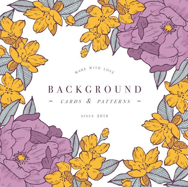 アプリコットの花とバラの花を持つヴィンテージのカード。フローラルリース。ラベルデザインのフラワーショップのフラワーフレーム。花のグリーティングカード。化粧品包装の花の背景。