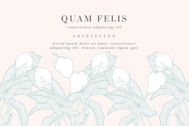 カラユリの花とヴィンテージカード。花の花輪。ラベルデザインのフラワーショップ用フラワーフレーム。夏の花のカラユリのグリーティングカード。化粧品包装の花の背景