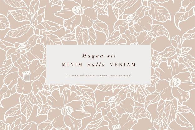 카멜리아 꽃이 있는 빈티지 카드 꽃 화환 꽃 프레임 라벨 디자인이 있는 flowershop...