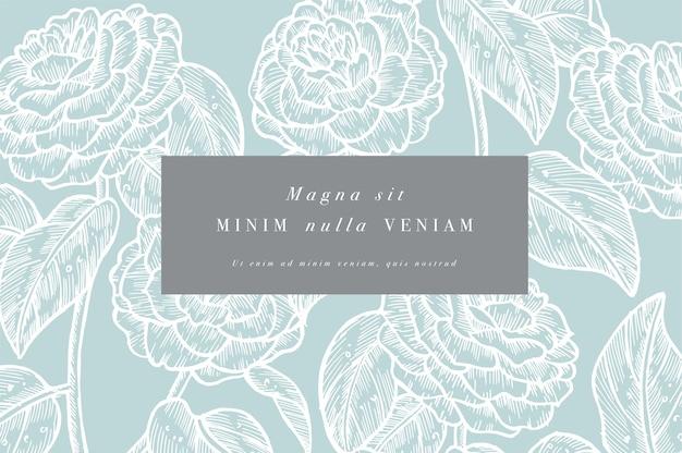 Camelia 꽃과 빈티지 카드입니다. 꽃 화환. 라벨 디자인과 꽃 가게를위한 꽃 프레임. 여름 꽃 장미 인사말 카드입니다. 화장품 포장을위한 꽃 배경입니다.