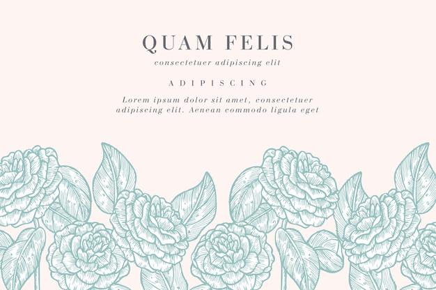 カメリアの花を持つヴィンテージのカード。フローラルリース。ラベルデザインのフラワーショップのフラワーフレーム。夏の花のバラのグリーティングカード。化粧品包装の花の背景。