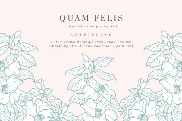 椿の花とヴィンテージカード。花の花輪。ラベルデザインのフラワーショップ用フラワーフレーム。