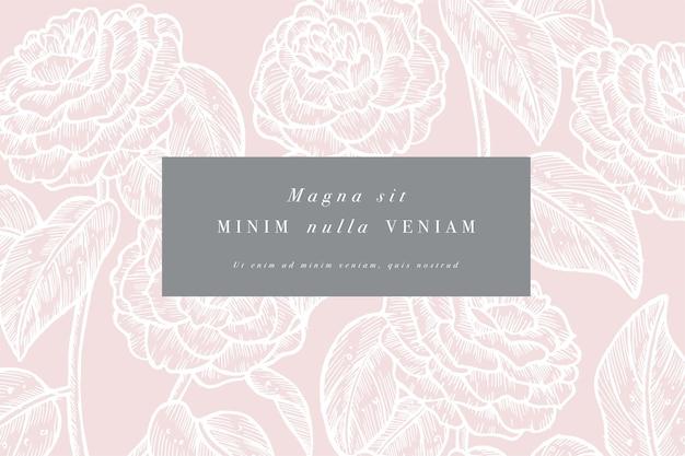 Camelia 꽃과 빈티지 카드입니다. 꽃 화환. 라벨이있는 꽃 가게를위한 꽃 프레임