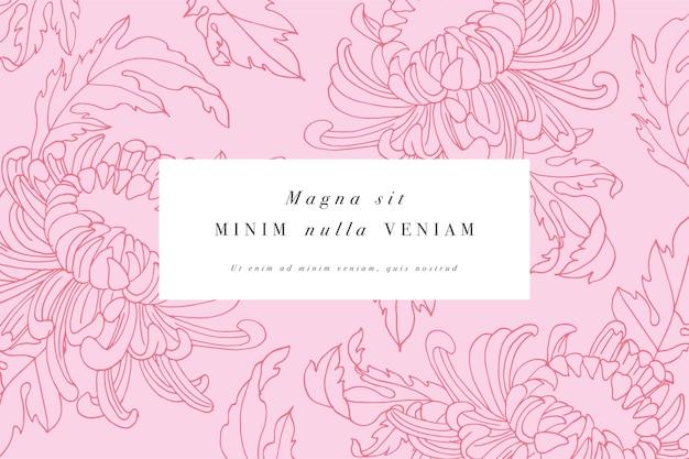 Винтажная открытка с цветами хризантемы. цветочная рамка для дизайна этикеток.
