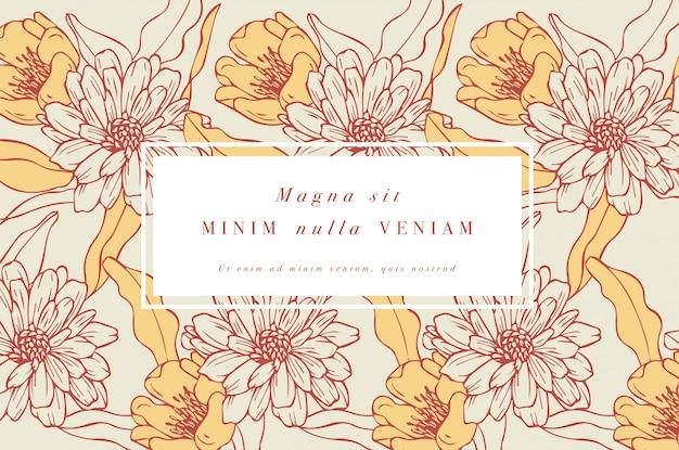 Винтажная открытка с цветами. цветочный венок. цветочная рамка для цветочного магазина с дизайном этикеток. золотая маргаритка цветочная открытка. фон цветы для упаковки косметики.