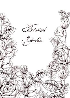 꽃 라인 아트와 빈티지 카드