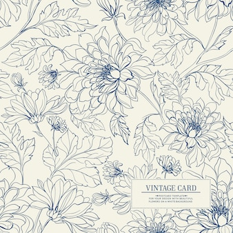 Vintage card with flowers seamless pattern.
