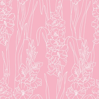 Vintage card with gladiolus flowers. flowers background for cosmetics packaging. seamless pattern.