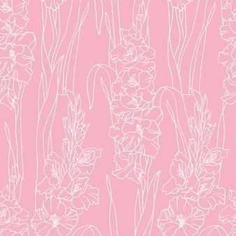Винтажная открытка с цветами гладиолусов. фон цветы для упаковки косметики. бесшовные модели.