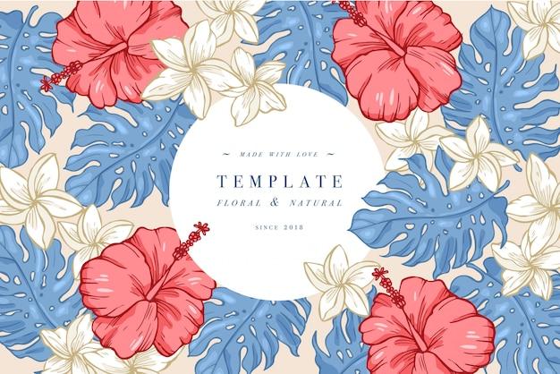 히비스커스와 plumeria 꽃 빈티지 카드입니다. 꽃 화환. 라벨 디자인과 꽃 가게를위한 꽃 프레임. 여름 꽃 인사말 카드입니다. 화장품 포장을위한 꽃 배경입니다.