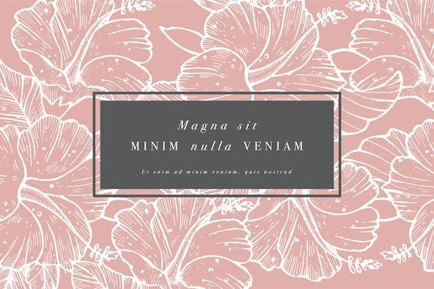 ハイビスカスの花を持つヴィンテージのカード。フローラルリース。ラベルデザインのフラワーショップのフラワーフレーム。夏の花のバラのグリーティングカード。化粧品包装の花の背景。