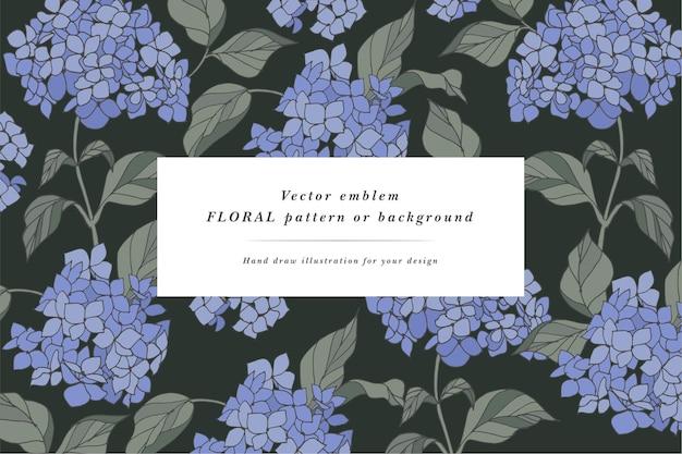 수국 꽃과 빈티지 카드입니다. 꽃 화환. 레이블 디자인이 있는 flowershop용 꽃 프레임입니다. 여름 꽃 인사말 카드입니다. 화장품 포장을 위한 꽃 배경입니다.