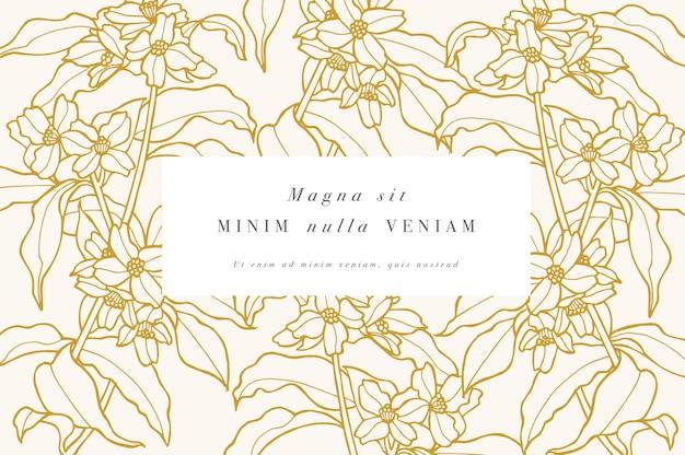 ジャスミンの花とヴィンテージカード。