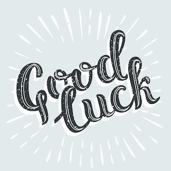 Vintage card with lettering good luck comic strip text