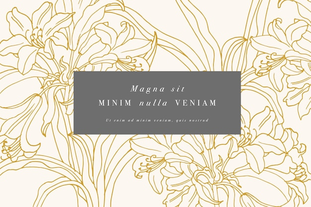 ユリの花とヴィンテージカード。花の花輪。ラベルデザインのフラワーショップ用フラワーフレーム。夏の花ユリのグリーティングカード。化粧品包装の花の背景