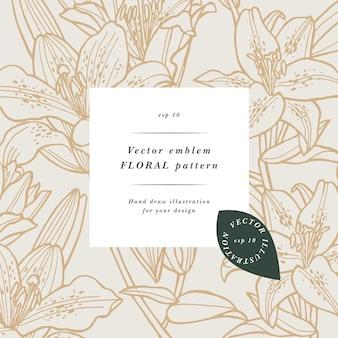 백합 꽃과 빈티지 카드입니다. 꽃 화환. 레이블 디자인이 있는 flowershop용 꽃 프레임입니다. 여름 꽃 백합 인사말 카드입니다. 화장품 포장을 위한 꽃 배경입니다.