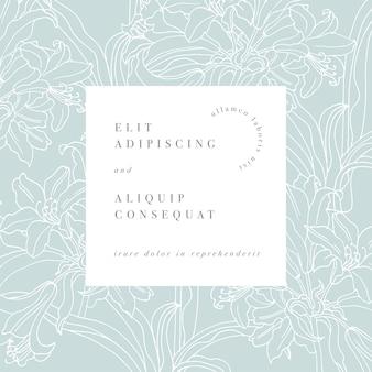 백합 꽃과 함께 빈티지 카드입니다. 라벨 디자인과 꽃 가게를위한 꽃. 화장품 포장 꽃 배경
