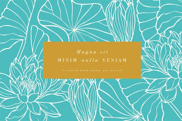 로터스 꽃과 빈티지 카드입니다. 꽃 화환. 라벨이있는 꽃 가게를위한 꽃 프레임