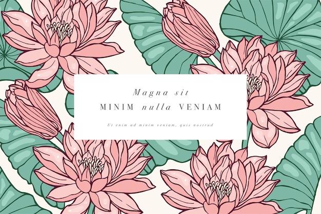 蓮の花とヴィンテージカード