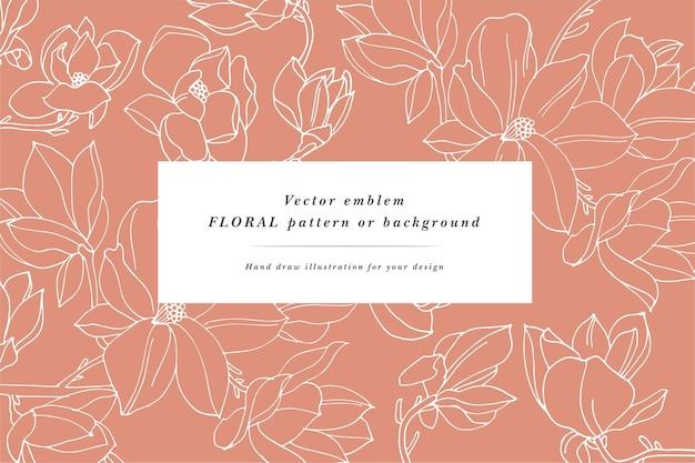 マグノリアの花とヴィンテージカード。花の花輪。ラベルデザインのフラワーショップ用フラワーフレーム。夏の花のマグノリアグリーティングカード。化粧品包装の花の背景。