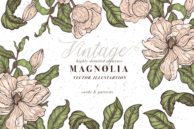 マグノリアの花を持つヴィンテージのカード。フローラルリース。ラベルデザインのフラワーショップのフラワーフレーム。夏の花マグノリアグリーティングカード。化粧品包装の花の背景。