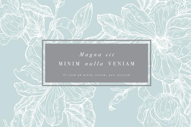 목련 꽃과 빈티지 카드입니다. 꽃 화환. 라벨 디자인과 꽃 가게를위한 꽃 프레임. 여름 꽃 목련 인사말 카드입니다. 화장품 포장을위한 꽃 배경입니다.