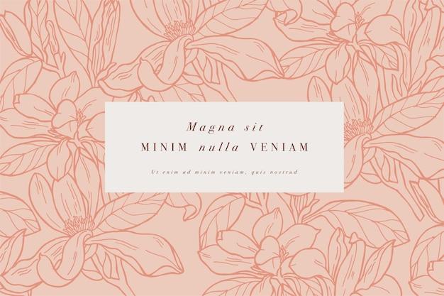 목련 꽃과 빈티지 카드입니다.
