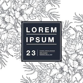 狭い葉の牡丹の花とヴィンテージカード。ラベルデザイン用フラワーフレーム。