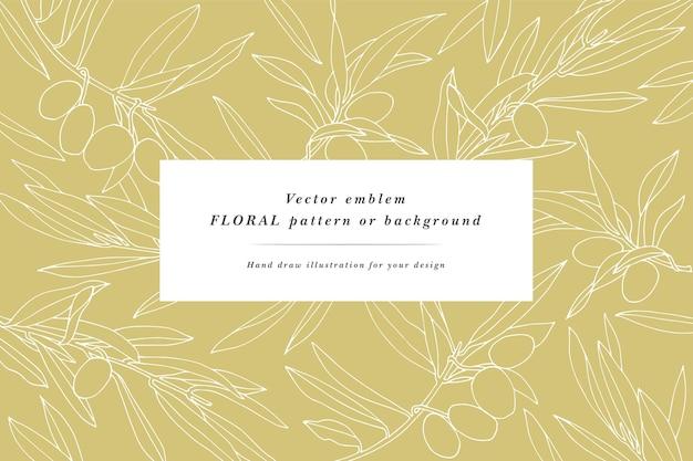 Винтажная открытка с оливковыми ветвями. растительный венок. ботанический фон для упаковки косметики.