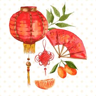 オレンジ、中国のランプ、handfanのヴィンテージのカード