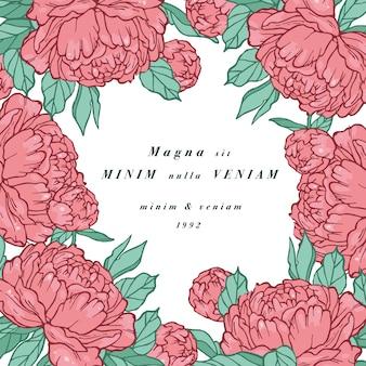 牡丹の花を持つヴィンテージのカード。フローラルリース。ラベルデザインのフラワーショップのフラワーフレーム。