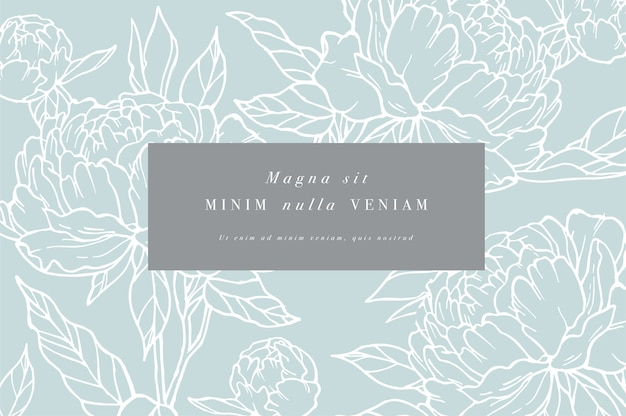 Vintage card with peony flowers. flower frame for  label design. Premium Vector