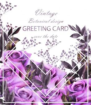 Винтажная открытка с фиолетовыми розами