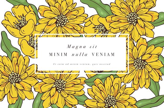 Винтажная открытка с цветами роз. цветочный венок. цветочная рамка для цветочного магазина с дизайном этикеток. золотисто-ромашковая цветочная открытка. фон цветы для упаковки косметики.