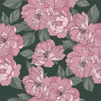 バラの花とヴィンテージカード。花の花輪。ラベルデザインのフラワーショップ用フラワーフレーム。夏の花のバラのグリーティングカード。化粧品包装の花の背景。