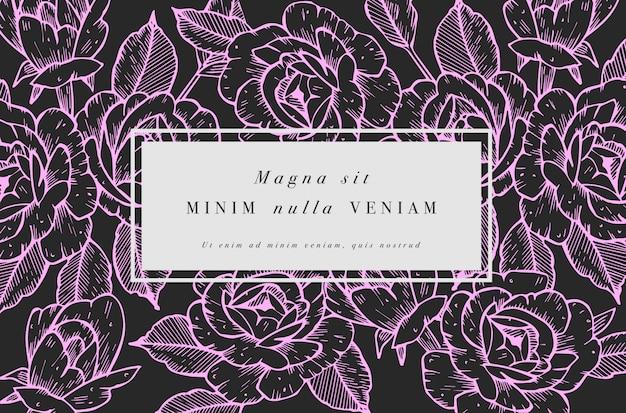 バラの花を持つヴィンテージのカード。フローラルリース。ラベルデザインのフラワーショップのフラワーフレーム。夏の花のバラのグリーティングカード。化粧品包装の花の背景。