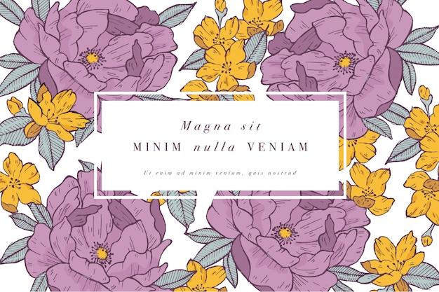 장미 꽃과 함께 빈티지 카드입니다. 꽃 화환. 라벨 디자인과 꽃 가게를위한 꽃 프레임. 여름 꽃 장미 인사말 카드입니다. 화장품 포장을위한 꽃 배경입니다.