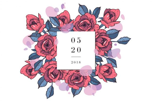 장미 꽃과 함께 빈티지 카드입니다. 꽃 화환. 청첩장에 대 한 꽃 프레임입니다. 여름 꽃 장미 인사말 카드입니다. 꽃 배경입니다.