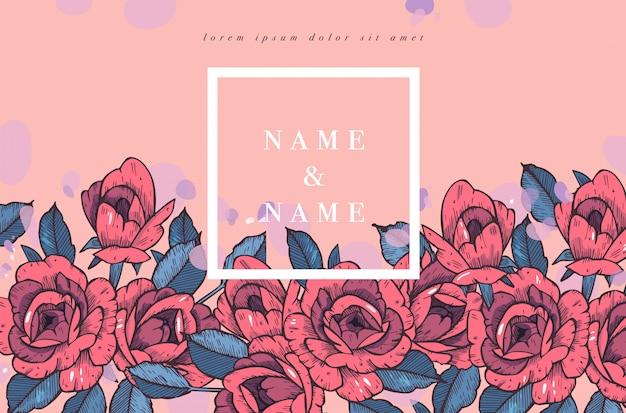 バラの花を持つヴィンテージのカード。フローラルリース。結婚式の招待状の花のフレーム。夏の花のバラのグリーティングカード。花の背景。