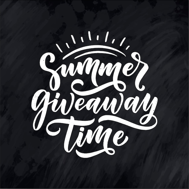 Vintage card with summer giveaway lettering. calligraphy text