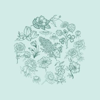 다양 한 꽃과 빈티지 카드