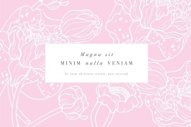 睡蓮の花イラストデザインのヴィンテージカード