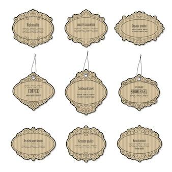 Vintage cardboard frames and labels.