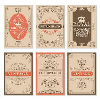 ヴィンテージのカード。花のフィリグリーの古典的なビクトリア朝の装飾品とテキストのラベルデザインテンプレートのフレーム