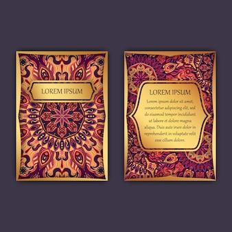 Винтажные открытки с цветочным орнаментом мандалы и орнаментами. роскошный дизайн